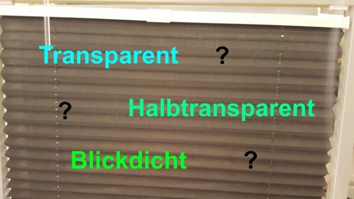 Plissee das transparent, blickdicht und halbtransparent ist